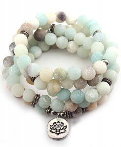 bracelet lotus en amazonite