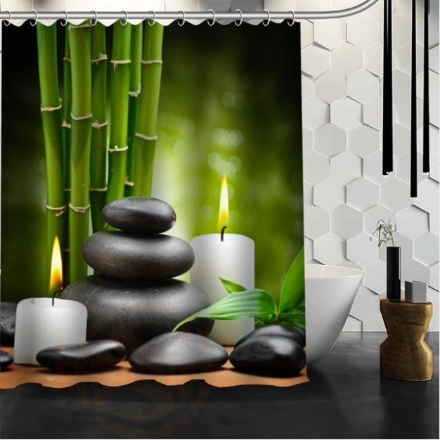 rideau de douche zen tr s tendance avec galet et bambou univers zen. Black Bedroom Furniture Sets. Home Design Ideas