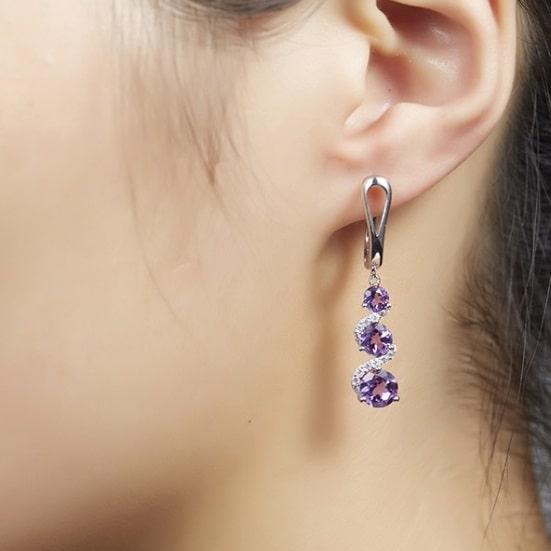 boucles d'oreilles pendantes amethyste