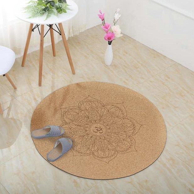 Tapis De Meditation Mandala Avec Fleur De Lotus Et Signe Om