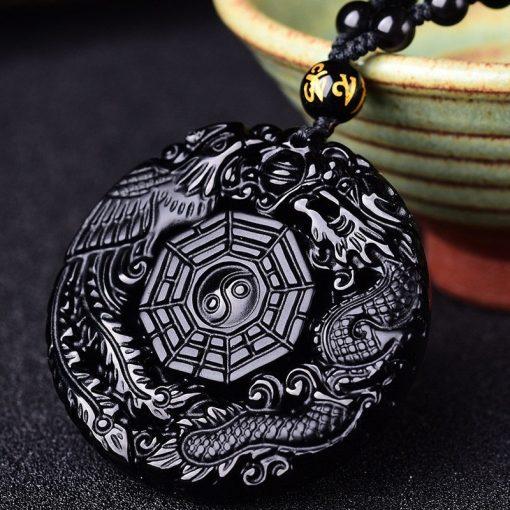 collier-dragon-et-phoenix-en-obsidienne