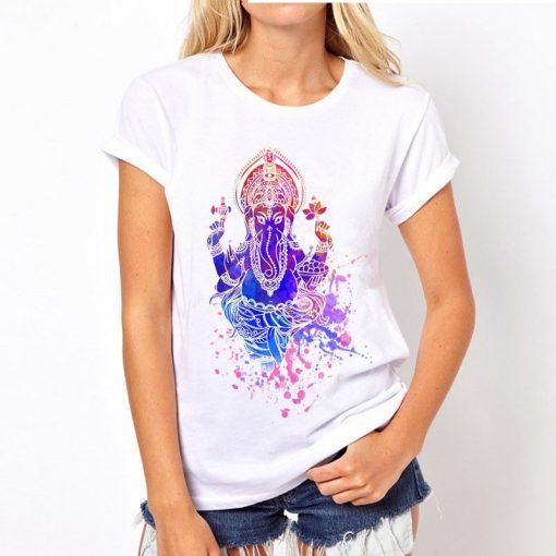 t-shirt-ganesh-femme-bleu-et-rose-dominan